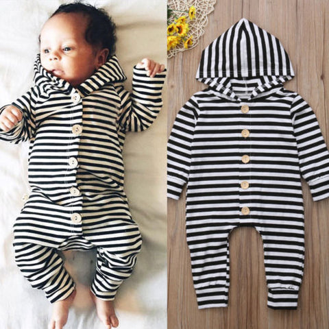 Baby Stripes w, Buttons Hoodie Jumpsuit-www.my-baby-world.com