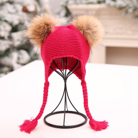 Baby Double Fur Pom-Pom Hat