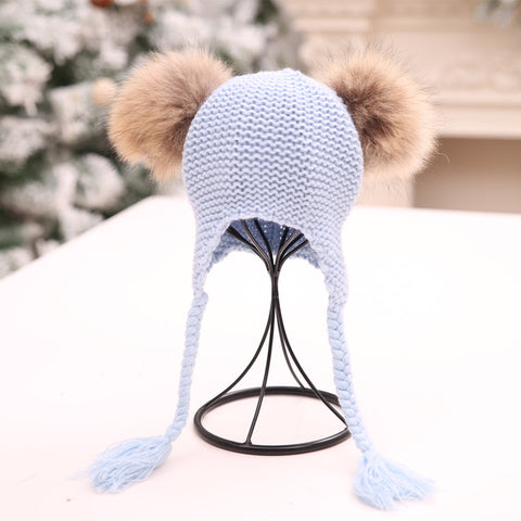 Baby Double Fur Pom-Pom Hat-www.my-baby-world.com