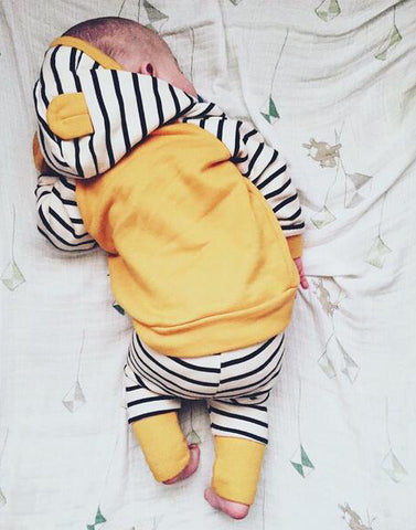 Baby Yellow Stripes Hoodie 2pcs Set-www.my-baby-world.com