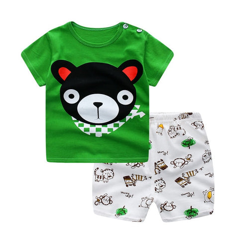 Baby /Toddler Boy Summer Casual Green Bear Set