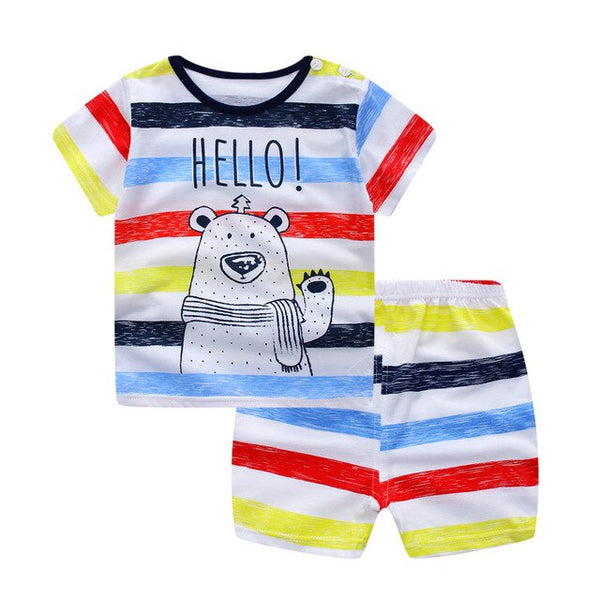 Baby /Toddler Boy Summer Casual Rainbow Stripe Bear Set