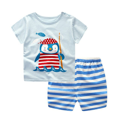 Baby /Toddler Boy Summer Casual Blue Penguin Set