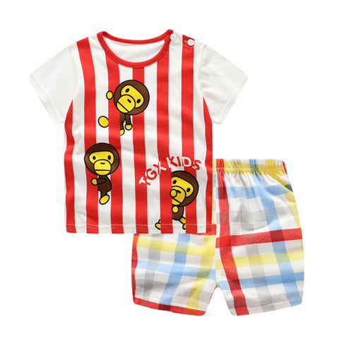 Baby /Toddler Boy Summer Casual Stripe Monkey Set