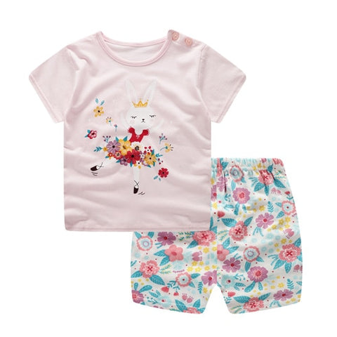 Baby /Toddler Summer Casual Flower Bunny Set