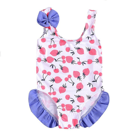 Baby/Toddler Strawberry And Cherry Overall Swimsuit [1-4 years]