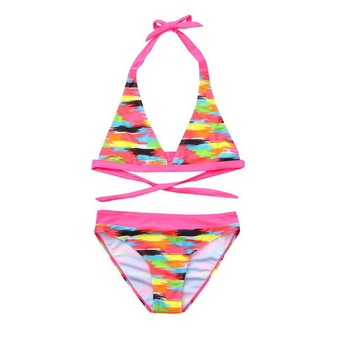 Kids Pink Flower Bikini  Set [6-16y]