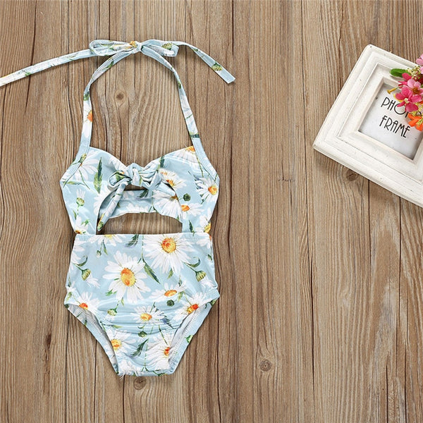 Baby/Toddler White Daisy Strap Swimsuit-www.my-baby-world.com
