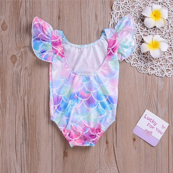 Baby /Toddlers Pink Mermaid Overall Swimsuit [1-4years]-www.my-baby-world.com