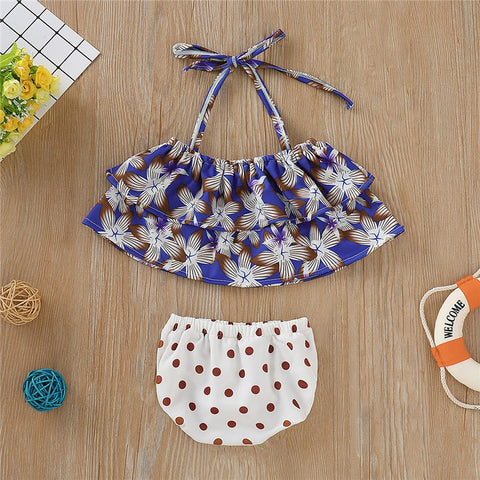 Toddler Floral Ruffle and Polka Dots Swimsuit [age1-5years]-www.my-baby-world.com