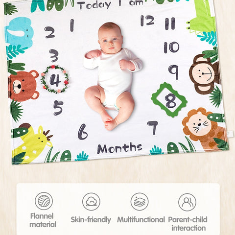 12 Monthly Baby Growth Photo Background Blanket