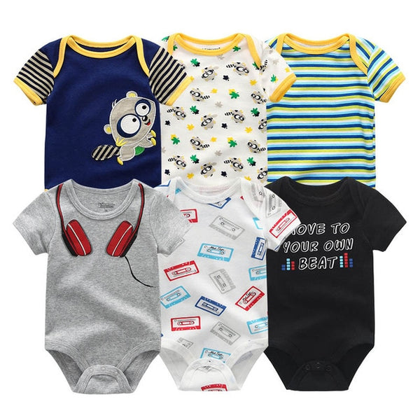 Newborn baby Boy Music DJ Jumpsuit 0-12M 6PCS/Pack