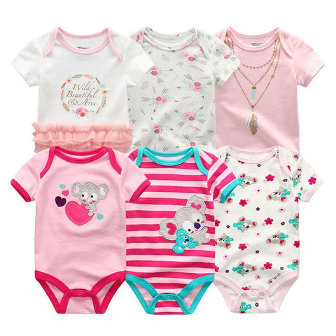 Newborn baby Girl Stripe Koala Jumpsuit 0-12M 6PCS/Pack