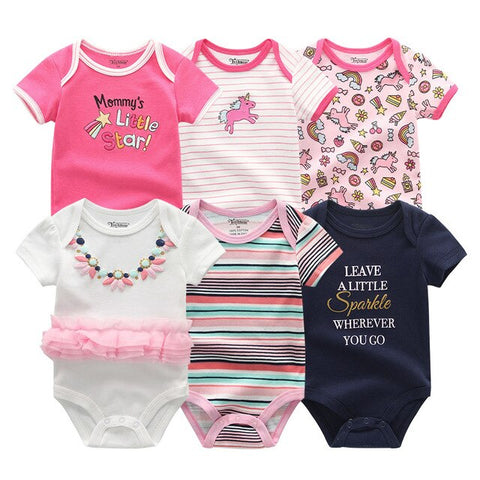 Newborn baby Girl Pink Unicorn Jumpsuit 0-12M 6PCS/Pack