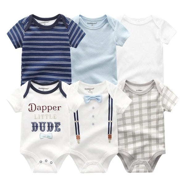 Newborn baby Boy Stripe &Little MR Jumpsuit 0-12M  6PCS/Pack