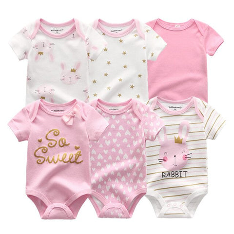 Newborn baby Girl Pink Bunny Set Jumpsuit 0-12M 6PCS/Pack