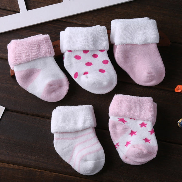 3-12M Soft Cotton Baby Girls Boys Socks  5pcs/Pack