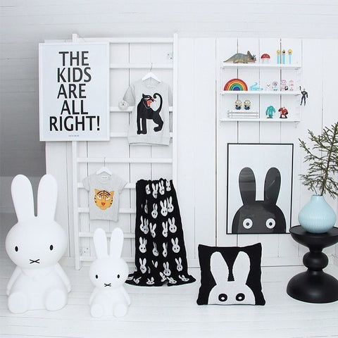 Baby Knitted Blanket - Black & White Rabbit / Cross-www.my-baby-world.com
