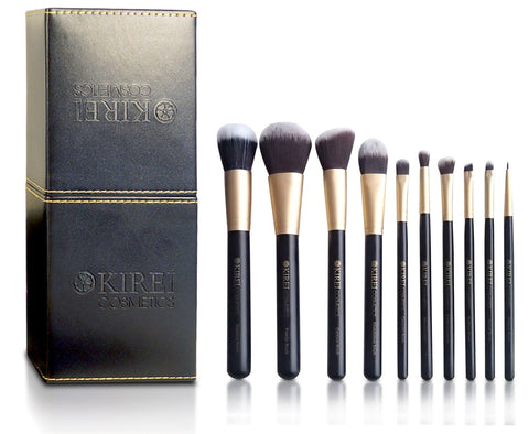 Professional Makeup Brushes - 10 Piece Set - Kirei Cosmetics - 1