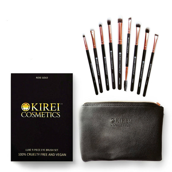 Kirei Cosmetics Luxe 9 Piece Eye Brush Set (with FREE Makeup Bag)