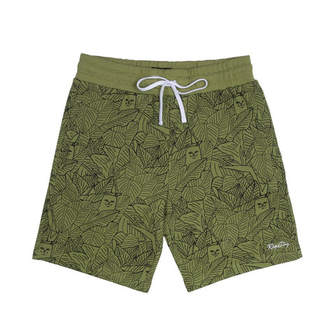 Nerm Leaf Pattern French Terry Shorts (Olive)