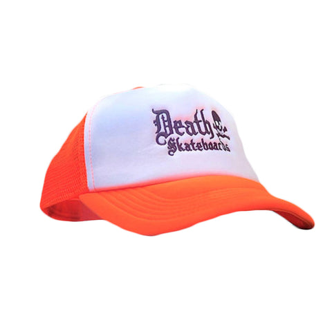 Death Trucker Cap (Neon Orange/White)