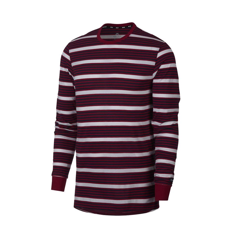 87678115a Nike SB Dry Striped Long Sleeve T-Shirt in red. – Legacy Skate Store