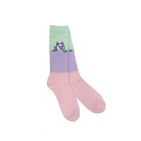 Peeking Nerm Socks (Colour Block) Pink