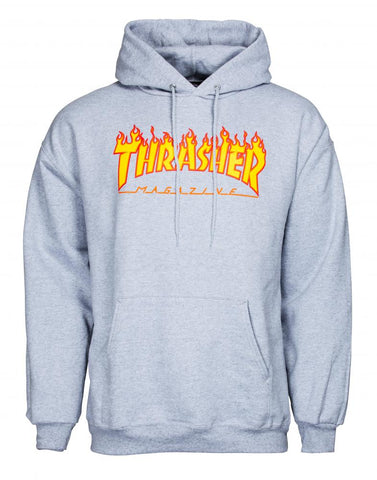 Flame Logo Hoody (Heather Grey)