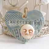 Full Moon Ornament Blessed Be Boho Gypsy Soul Embossed Clay Heart