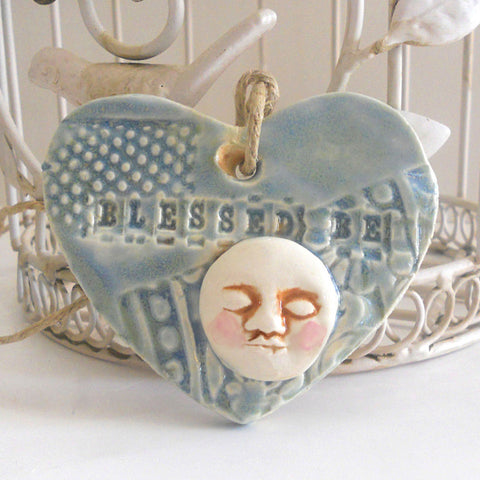 Moon Ornament Blessed Be Boho Gypsy Soul Embossed Clay Heart