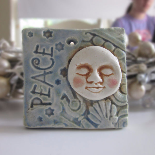 Full Moon Christmas Ornament - Ceramic Tile