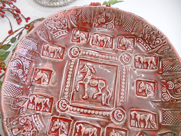 "Ceramic Serving Bowl Horse Pasta Bowl Large Horse Equestrian Ruby Red 12"" with feet"