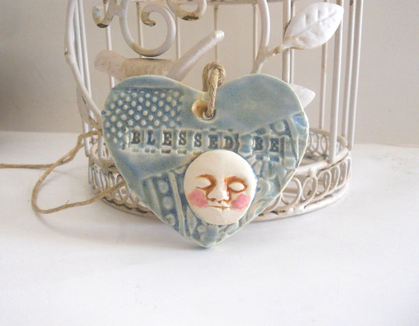 Blessed Be Ceramic Moon Ornament | Wall Tile | Handmade Pottery