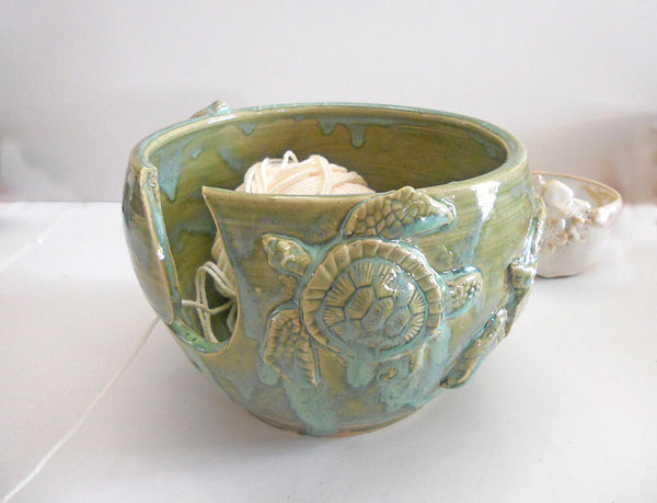 LARGE Sea Turtle Yarn Bowl | Knitting Bowl Beach | Handmade Pottery | Mother's day Gift