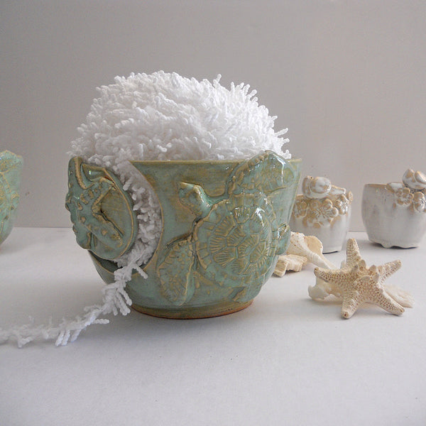 Sea Turtle Yarn Bowl - Knitting Bowl Beach Handmade Pottery Yarn Holder
