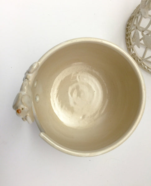 Pottery Yarn Bowl with Bird - Winter White - In Production