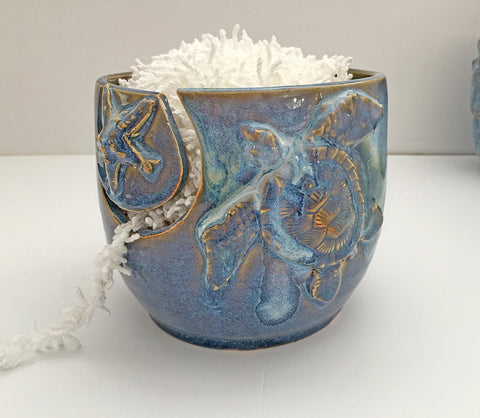 Turtle Yarn Bowl for Knitting and Crochet - Tropical Coastal Living - Handmade Pottery - Blue