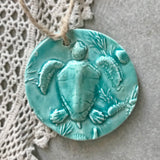 Aqua Sea Turtle Ornament - Christmas Tree Ornament Beach Pottery