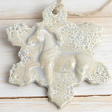 Horse Ornament - Christmas Tree Ornament - Equestrian Gift - Sand with white highlights