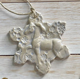 white horse ceramic ornament with snowflakes