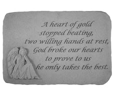 A heart of gold...(with sitting angel) Memorial Garden Stone - xoticbrands