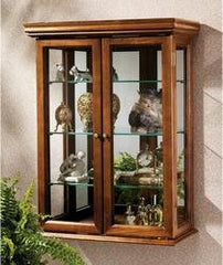 "26"" Collectors Cabinet Country Tuscan Style Hardwoord Wall Curio - xoticbrands"