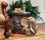 "21"" Arabian Elephant Collectible Sculptural Side Table Statue Figurine"