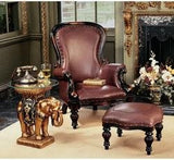 19th Century Victorian Hand-carved Solid Mahogany Antique Replica Faux Leather Wing Chair and Ottoman