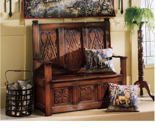 Treasure Mahogany Storage Handcarved Museum Quality Monks Replica Chair Bench Storage
