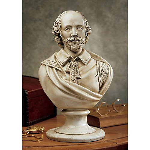 "12"" William Shakespeare Sculptural Bust Inspired By 19th-century French Original By Sculptor Emile Guillemin - xoticbrands"
