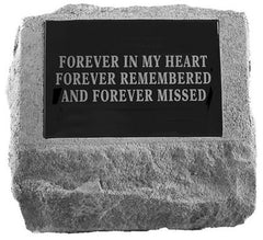Urn W/Marble Rectangle Insert Memorial Pet Stone