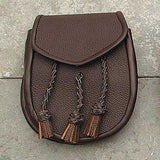 Scottish Brown Sporran W/ Braided Tassels Purse