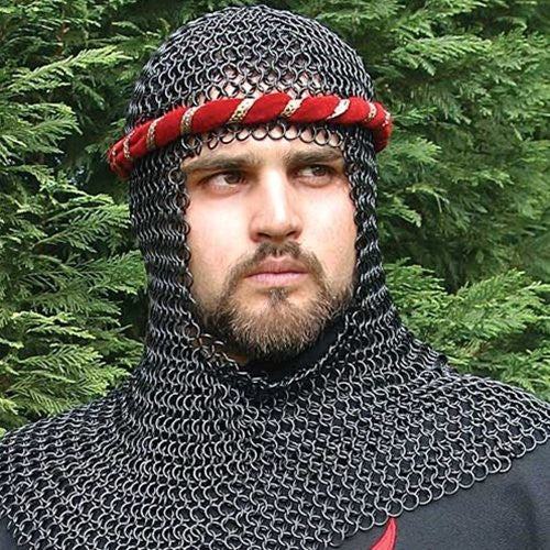 Mail Armor Coif, Blackened
